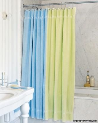Easy sewing project: Terry cloth shower curtain.: Showers, Terry Cloth Curtain, Idea, Sewing Projects, Beach Towel, White Bathroom, Martha Stewart, Shower Curtains, Towels