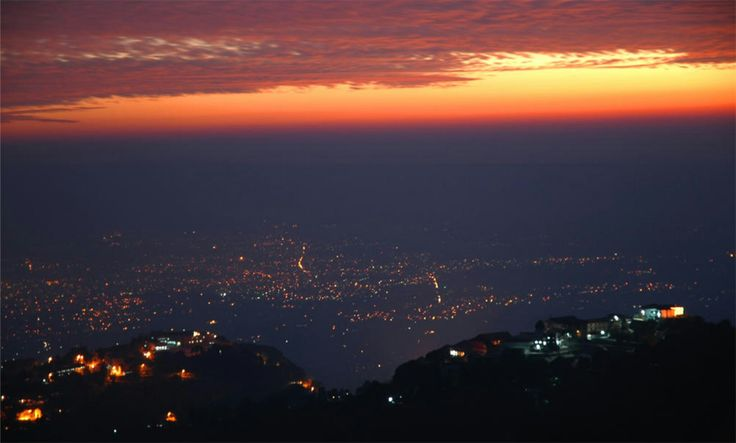 Panaroma view of Dehradun Valley taken from Gun Hill (Mussoorie) at the time of Dusk.