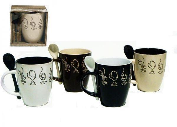 Taza con Cuchara Dibujos Cafe - Taza de ceramica dibujos cafe, con cucharita…