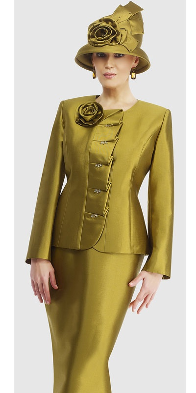 $298.90   Womens French Olive or Lipstick Silk 2pc Formal Skirt Suit By Moshita Luxe 8 to 24