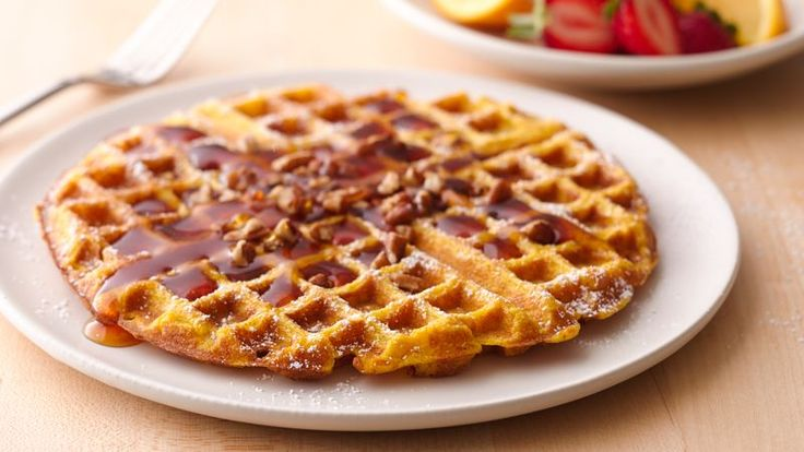 Treat your family to a hearty fall breakfast anytime.  They'll love the spicy, sweet hint of pumpkin in these waffles.