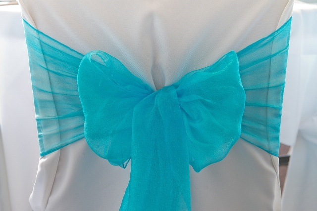 #sashes #bow #organza #blue #wedding #weddingreception