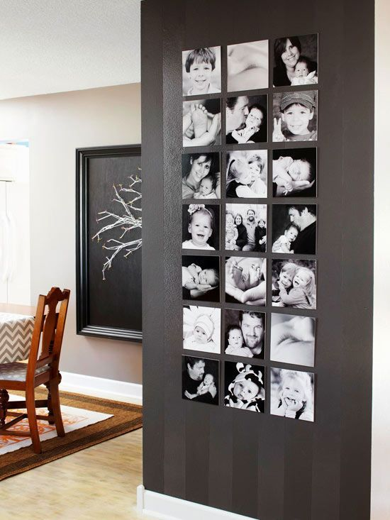 An isntant gallery gets created on an otherwise hard to decorate accent wall in a high-traffic area. It's the black and white photo treatment that can take a lot of unrelated family photos and make the feel more harmonious. Try adding a small block of wood behind each photo board for even more depth if placed in a less busy area of the room. Christopher Lowell