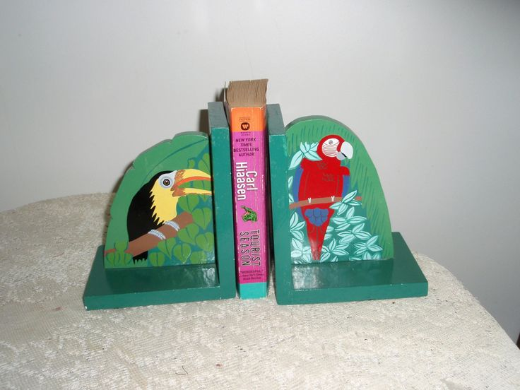 Tropical Bird Bookends, Toucan and Macaw bookends, green painted wood bookends, Child's room decorative bookends by SocialmarysTreasures on Etsy