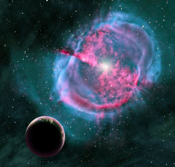 Kepler-438b has an Earth Similarity Index of 0.88. Prior to its discovery, the two most Earth-like exoplanets known were Gliese 667Cc and Kepler-296e. This artistic rendering depicts an Earth-like exoplanet orbiting an evolved star that has formed a stunning planetary nebula; earlier in its life, this planet may have been like one of the eight newly discovered worlds orbiting in the habitable zones of their stars. Image credit: David A. Aguilar / CfA.