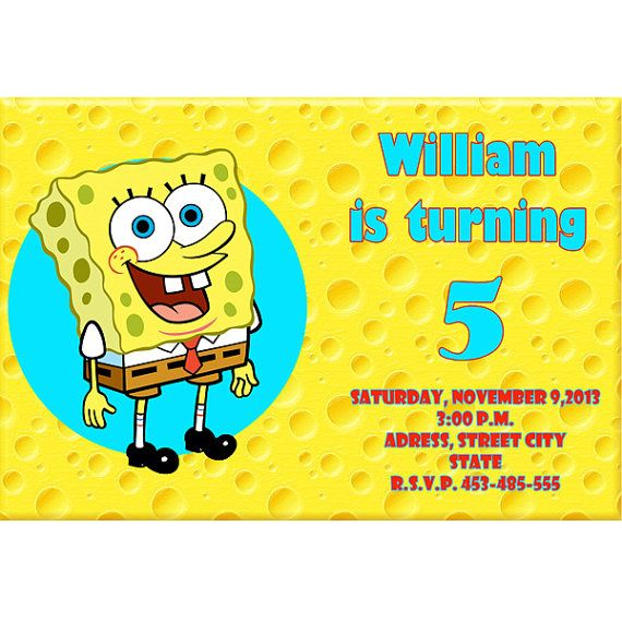 Spongebob - Digital File - Birthday - Party - Invitations - PRINTABLE