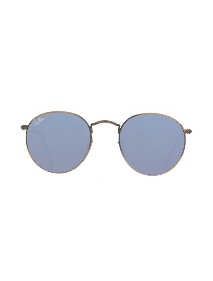 Ray-Ban Round Flash Sunglasses - Ray-Ban is the definitive brand of sunglasses for a reason. These shades have mirroring logo stamped UV lenses, metal frames
