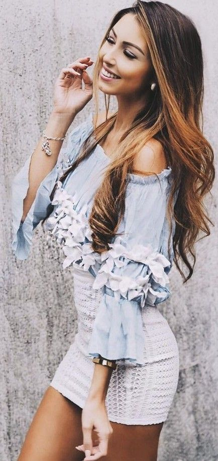 #summer #outfits #inspiration | Embellished Chambray Off The Shoulder Top + White Crochet Skirt
