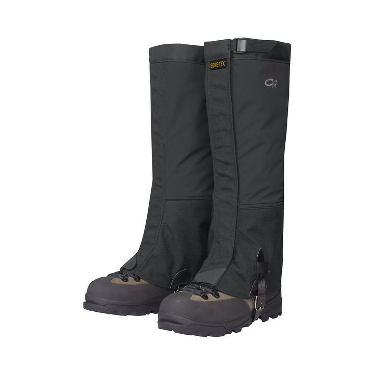 Outdoor Research Crocodiles Gaiters: Black; LG. The urethane-coated nylon instep strap provides an extra security feature. Rugged, yet lightweight these Outdoor Research Men's Crocodile Gaiters keep you dry. Worn over leather hiking boots or plastic mountaineering boots, Outdoor Research Men's Crocodile Gaiters are waterproof and breathable. To prevent detachment, the Crocodiles Gaiters a hook and loop shear tab at the bottom of the front closure. Crocodiles Gaiters provide a snug fit...