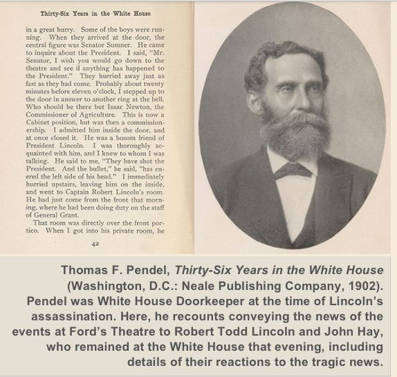 Doorman recalls telling Robert Lincoln and secretary, John Hay about the  assassination of  President Lincoln
