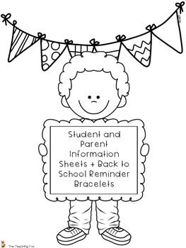 This back to school product includes one student information sheet, one parent communication sheet, one emergency contact form, and four pages of reminder bracelets. Reminder bracelets are included for conferences, open house, picture day, and returning paper