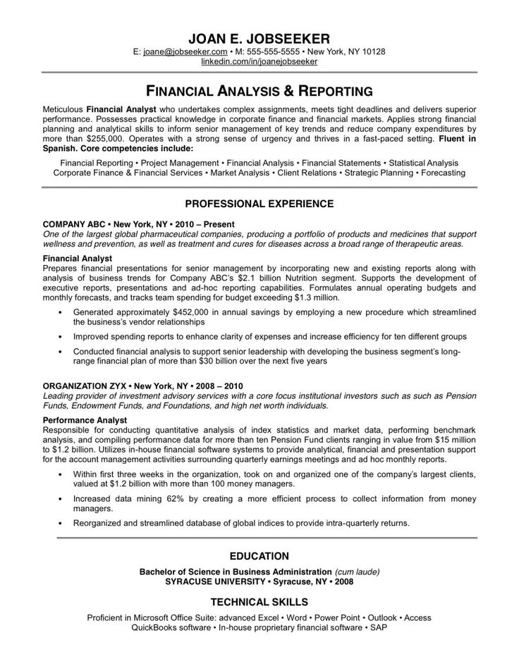 19 Reasons Why This Is An Excellent Resume Cover letter sample - forecasting analyst sample resume