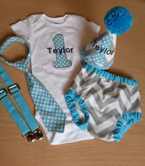 Personalized baby boy smash the cake outfit/ photo outfit/first birthday set in grey and white chevron and light aqua trims/polka dots tie on Etsy, $74.00