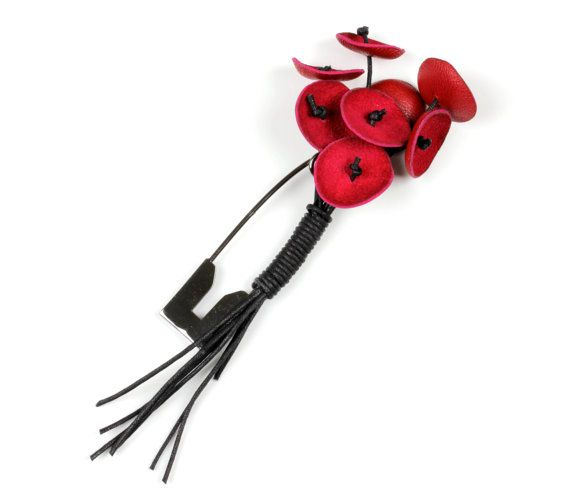 Leather BroochRed BroochBlack BroochContemporary by KiZoy on Etsy