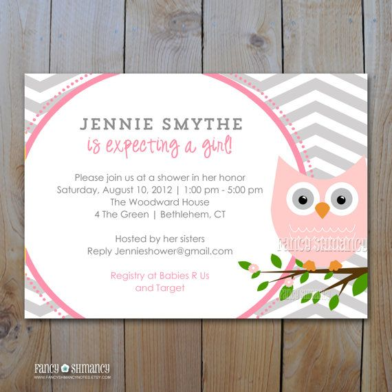 owl baby shower invitation grey and pink owl with grey