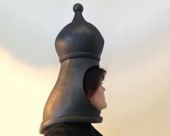 Bishop Chess Headdress. Handmade. Your choice of: king, queen, knight, rook, bishop or pawn. Chess piece themed party costume hat.