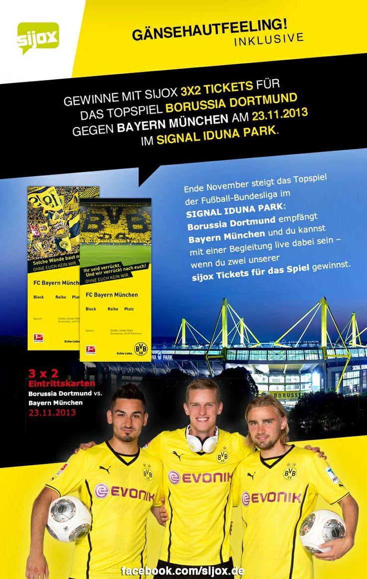 Gänsehautfeeling inklusive: Ich habe gerade beim sijox Gewinnspiel für 3x2 Karten für das Spiel  Borussia Dortmund gegen Bayern München im Signal Iduna Park mitgemacht. Du willst auch Karten gewinnen? Dann mach mit: https://apps.facebook.com/sijox-bvb