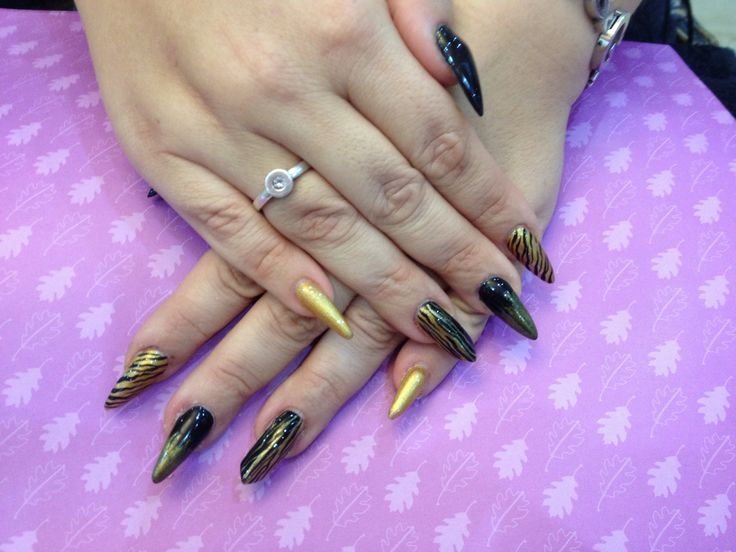 42 best new year nail design images on pinterest eye candy nails training stiletto nails with black and gold nail art by nicola senior on 25 september 2013 at prinsesfo Image collections