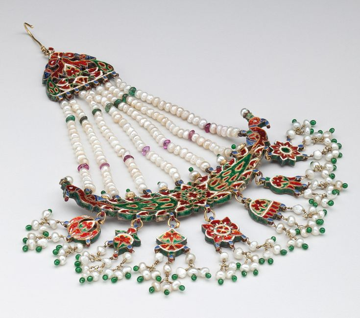 Jhumar Hair Ornament 18th century, Mughal Period (1526-1857) Jaipur, India.  Collection of the Newark Museum.
