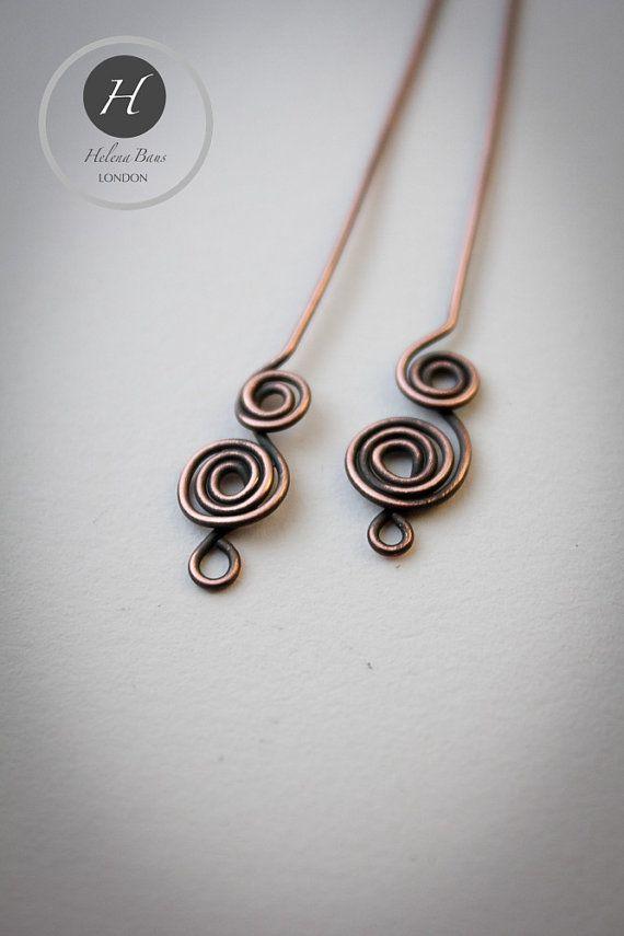Fancy Swirly Head Pin set of 4hand made by HelenaBausJewellery
