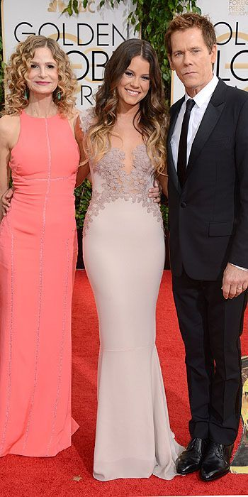 KYRA SEDGWICK, SOSIE BACON, AND KEVIN BACON at the Golden Globes 2014: Arrivals : People.com