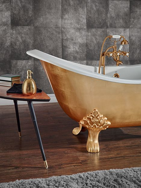 New premium finishes: Hand gilded feet in gold, silver and copper leaf