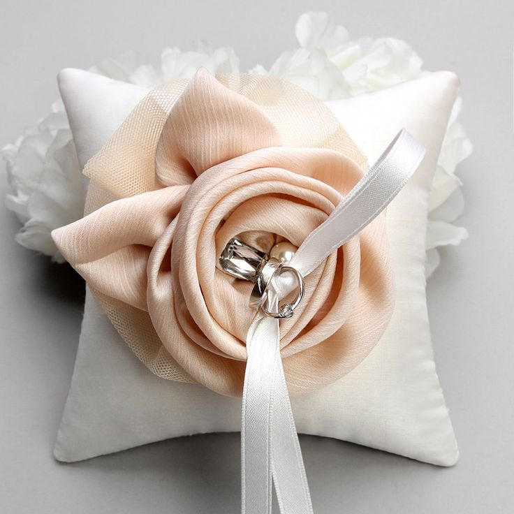 Shannon wedding ring pillow - champagne on white, ivory. via Etsy.