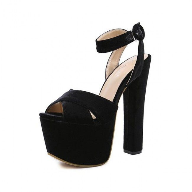 Black Crisscross Ankle Strap High Heel Chunky Platform