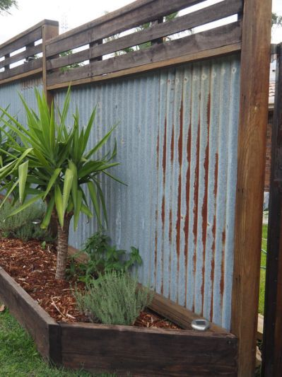 com corrugated metal fence ideas