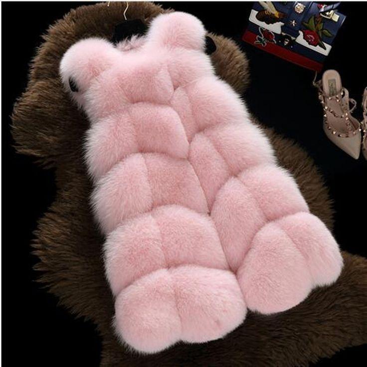 2017新しいファッションフェイクファーコート暖かいブラックホワイトピンクs-3xl大サイズフェイクファーベスト冬ジャケット女性高品質コート1401