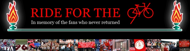 Ride for the 96 is a charity bike ride in memory of the 96 Liverpool FC fans who lost their lives in the Hillsborough stadium disaster on 15th April 1989.    The first ever Ride for the 96 will be taking place in April 2012, and will finish at Anfield on Sunday 15th April 2012.