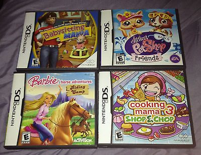 Lot of 4 Nintendo DS in Boxes - Babysitting, Little Pet Shop, Cooking, Barbie