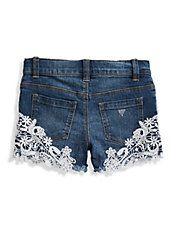 Embellished Lace-Trim Shorts