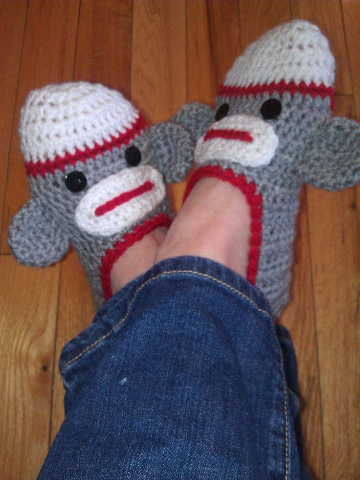 Free Crochet Pattern Sock Monkey Slippers : Crochet sock monkey slippers Crochet Sock Monkey ...