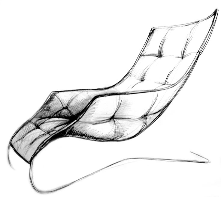 LOUNGE CHAIR #sketch of the #loungechair designed for #Zanotta and Maserati / #design #Palomba