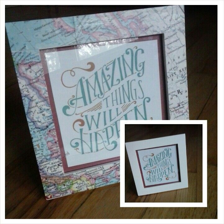 map mod podge with picture frames! before and after