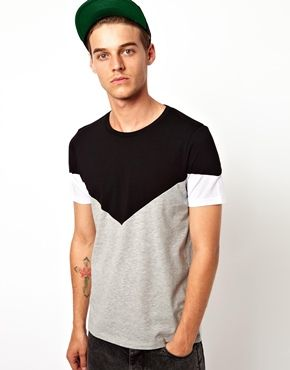 ASOS T-Shirt With Cut And Sew Triangle Yoke Panel