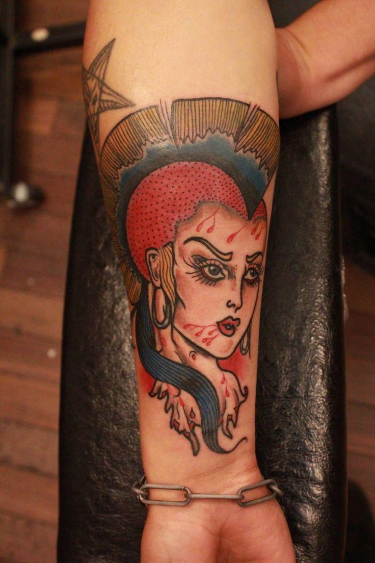 Punk Rocker Girl Tattoo On Forearm