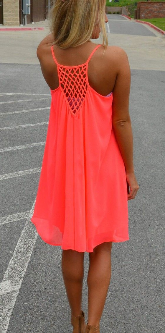 Fluorescent Red Plain Condole Belt Back Hollow-out Chiffon Dress                                                                                                                                                      More