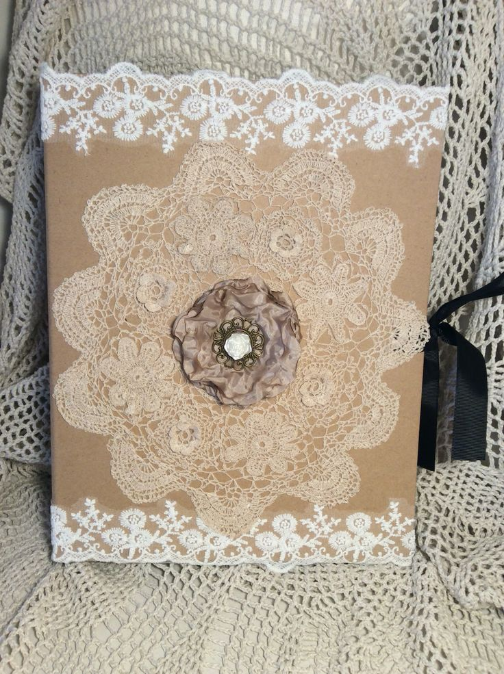 Shabby chic expanding folder with a vintage doily and lace trim