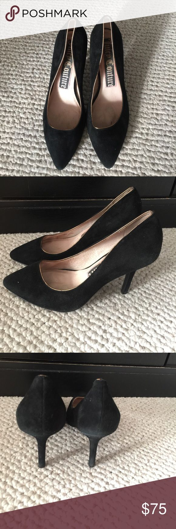 Juicy Couture High Heels These amazing juicy couture shoes are velvet black. They go with any type of outfit. Do you need almost new shoes for an upcoming party or a wedding? These are simply for any occasion. Worn only once or twice. Juicy Couture Shoes Heels