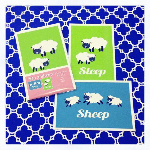 "Go 2 Sheep - Set of 2 -  Sheep  Illustrations  5.5"" x 8.5"""