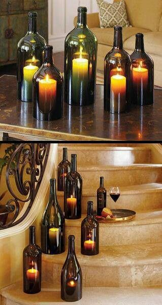 93 best bottles corks staves images on pinterest corks for How to make candle holders out of wine bottles