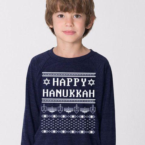 Happy Hanukkah Ugly Hanukkah Sweater-Shirt - Kids