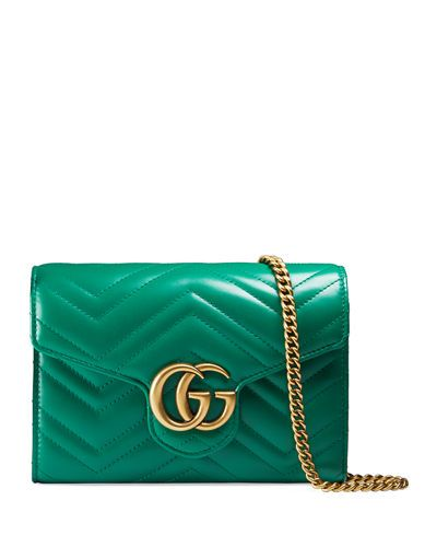 02c1b758f45 GUCCI GG MARMONT CHEVRON QUILTED LEATHER FLAP WALLET ON A CHAIN.  gucci
