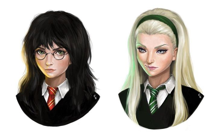 Harriet Potter and Dragana Malfoy ~ Harry Potter and Draco Malfoy Genderbend