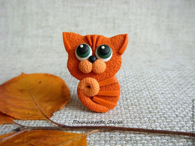 Купить Рыжее чудо. Брошь - брошь котенок, котенок, котик, кот, рыжий котенок