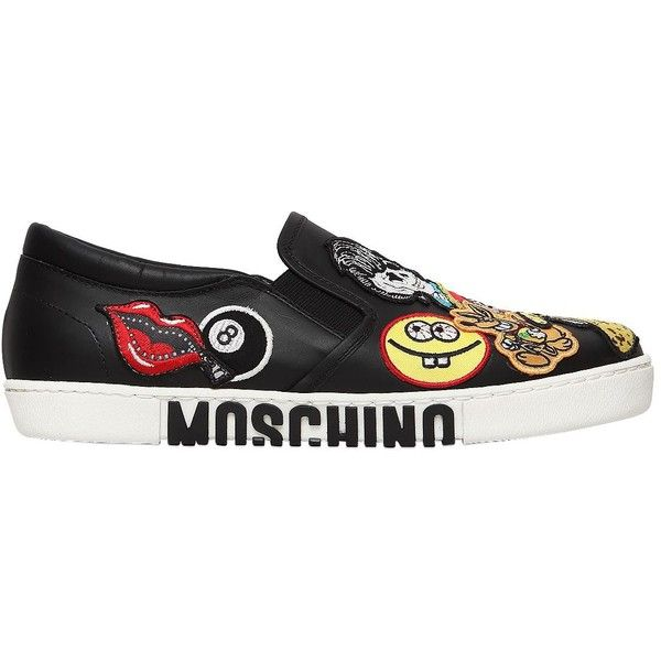 Moschino Women 20mm Patches Leather Slip-on Sneakers (2,005 AED) ❤ liked on Polyvore featuring shoes, sneakers, black, black leather shoes, black slip on shoes, leather slip-on shoes, leather slip on shoes and black trainers