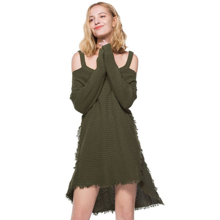 Debowa 2018 New Spring Women Knitted Sweater Dress Off Shoulder Front Short Long Back Irregular Dress Navy Tassel Dress Female