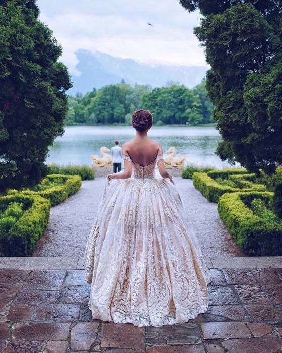 Princess ball gown off the shoulder for wedding